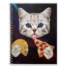 Space Cat with taco and pizza Notebook