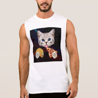 Space Cat with taco and pizza Sleeveless Shirt