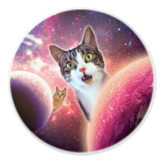 """Space Cats"" LOL Funny Ceramic Knob"