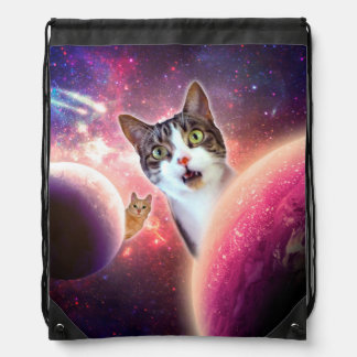 Space Cats LOL Funny Drawstring Backpack