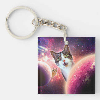 Space Cats LOL Funny Keychain
