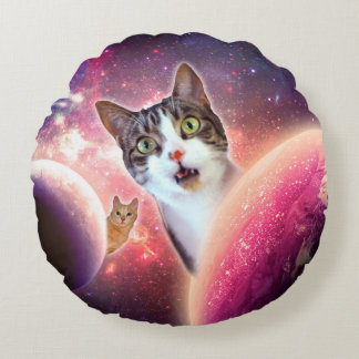 """Space Cats"" LOL Funny Round Throw Pillow (16"")"
