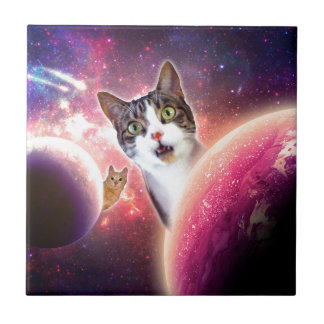 Space Cats LOL Funny Small Square Tile