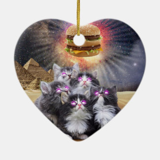 space cats looking for the burger ceramic heart decoration