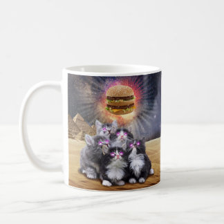 space cats looking for the burger coffee mug