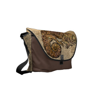 Space Chameleon Zentagle Dictionary Art Messenger Bag