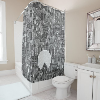 space city mono bw shower curtain