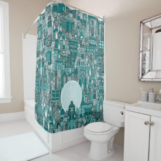 space city mono teal shower curtain