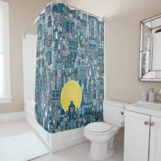 space city sun blue shower curtain