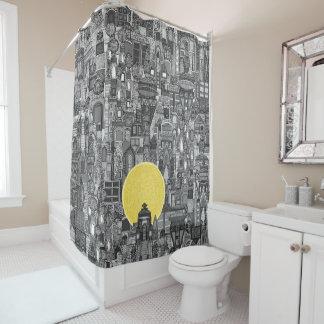 space city sun bw shower curtain