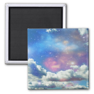 Space Clouds Square Magnet