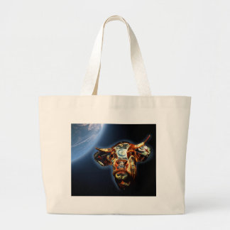 Space cow large tote bag