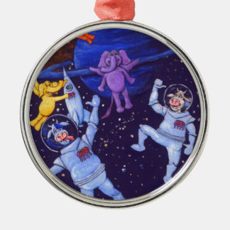 Space Cows and Space Elephants Metal Ornament