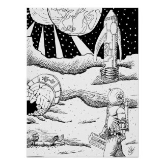 Space Crash B&W Poster