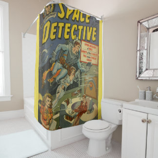 space detective shower curtain