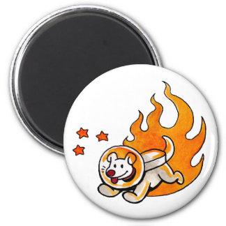 Space Dog 6 Cm Round Magnet