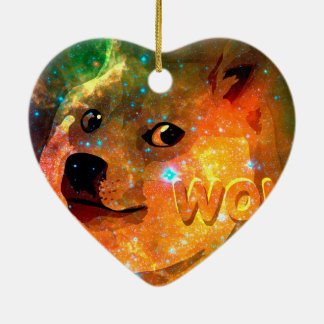 space - doge - shibe - wow doge ceramic ornament