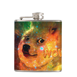 space - doge - shibe - wow doge hip flask