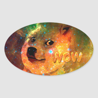 space - doge - shibe - wow doge oval sticker