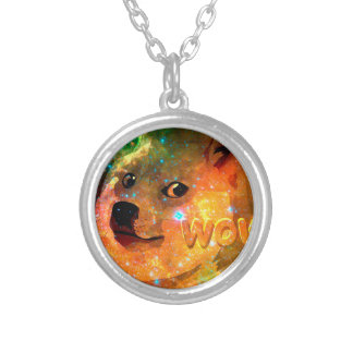 space - doge - shibe - wow doge silver plated necklace