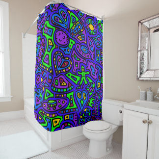 Space Doodle #2 Shower Curtain