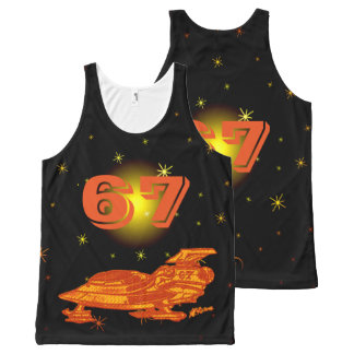 Space Fighter 67 Orange & Yellow 3 All-Over Print Tank Top