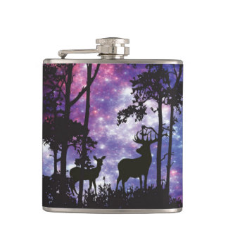 Space Forest with Deer Hip Flask
