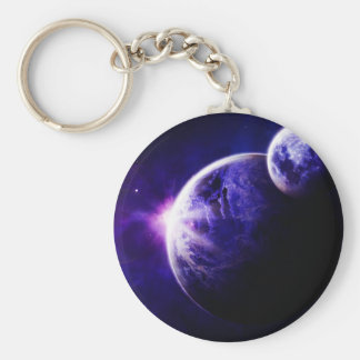 Space Galaxy Planets Stars in Purple Blue Tones Basic Round Button Key Ring