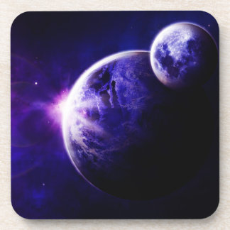 Space Galaxy Planets Stars in Purple Blue Tones Coasters