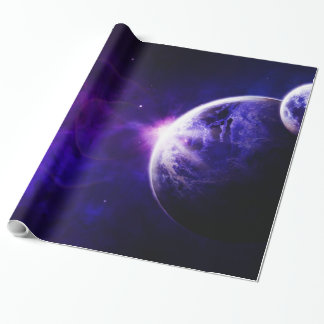 Space Galaxy Planets Stars in Purple Blue Tones Wrapping Paper