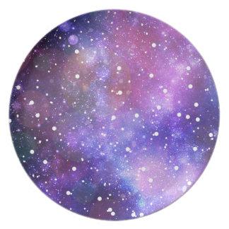 Space galaxy stars purple illustration decoration plates