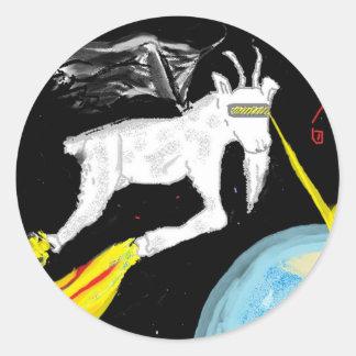 Space Goat Classic Round Sticker