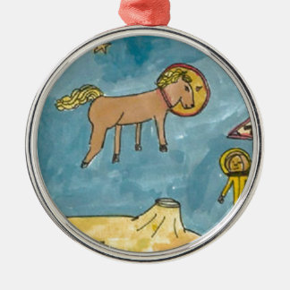 Space Horse Planet Silver-Colored Round Decoration