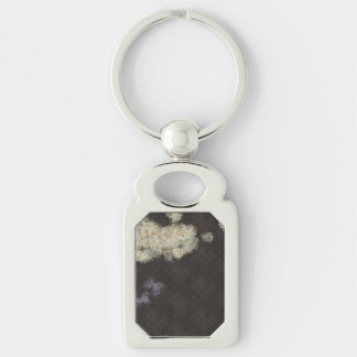 Space invaders coming in Silver-Colored rectangle key ring