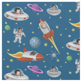 Space Kids of the World Fabric