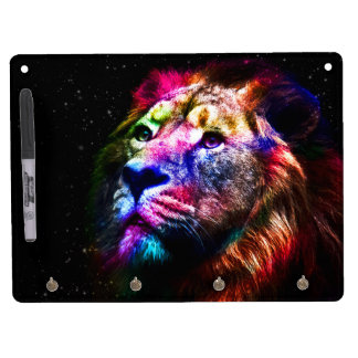 Space lion - colorful lion - lion art - big cats dry erase board with key ring holder