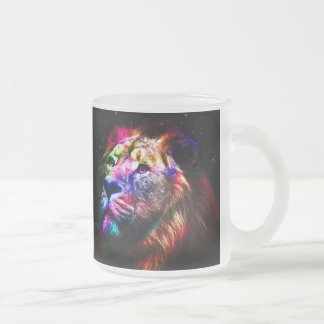 Space lion - colorful lion - lion art - big cats frosted glass coffee mug