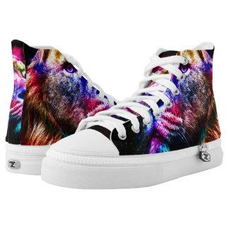 Space lion - colorful lion - lion art - big cats high tops