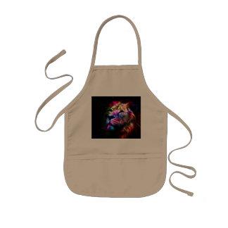 Space lion - colorful lion - lion art - big cats kids apron
