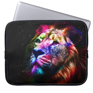 Space lion - colorful lion - lion art - big cats laptop sleeve