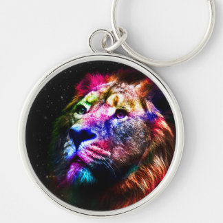 Space lion - colorful lion - lion art - big cats Silver-Colored round key ring
