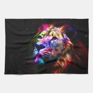Space lion - colorful lion - lion art - big cats tea towel