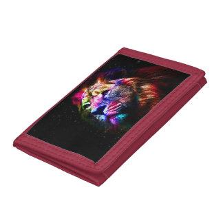 Space lion - colorful lion - lion art - big cats tri-fold wallet