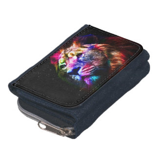 Space lion - colorful lion - lion art - big cats wallet