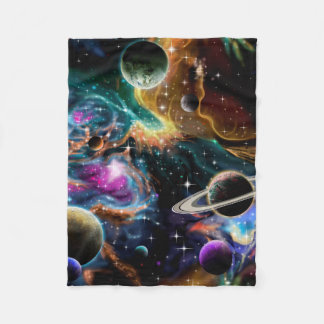Space Nebula and Planets Fleece Blanket