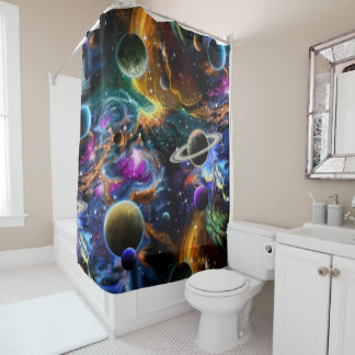 Space Nebula and Planets Shower Curtain