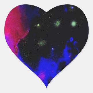 Space Nebula Heart Sticker