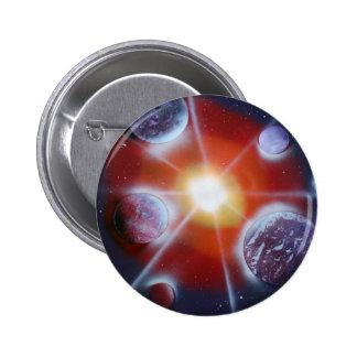 Space nova burst planets spraypainting pinback button