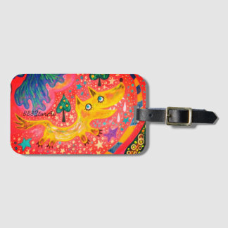 Space parade 1 section (fox) of pink elephant luggage tag