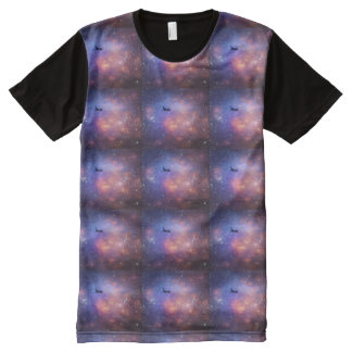 Space Plane Pattern All-Over Print T-Shirt